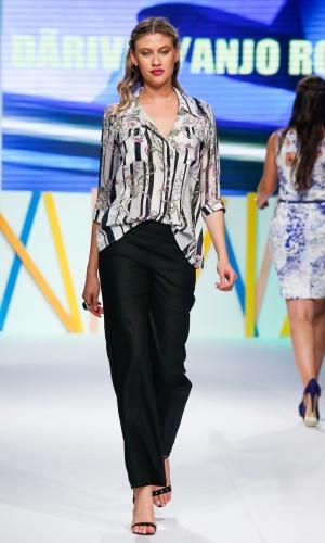 30.jul.2013 - As camisas estampadas são uma das peças mais procuradas pelos lojistas do Mega Polo Moda. Este modelo é da marca Darivãn/Anjo Rosa