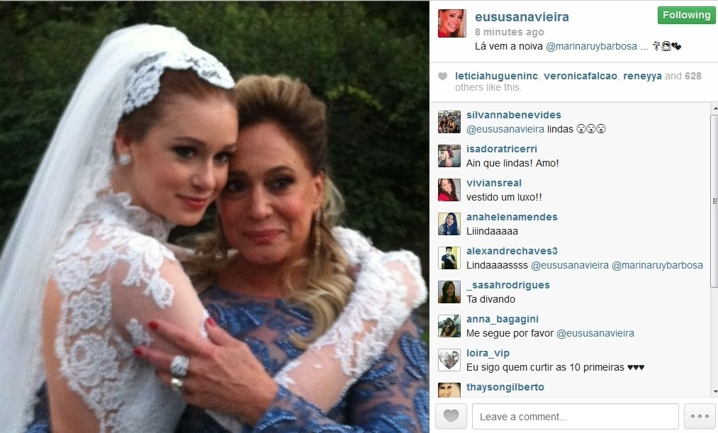 """30.jul.2013 - Susana Vieira grava cena com Marina Ruy Barbosa vestida de noiva para """"Amor à Vida"""""""