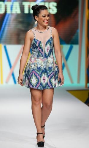 31.jul.2013 - Milene Uhiara desfila look em evento no shopping de atacado de moda Mega Polo Moda