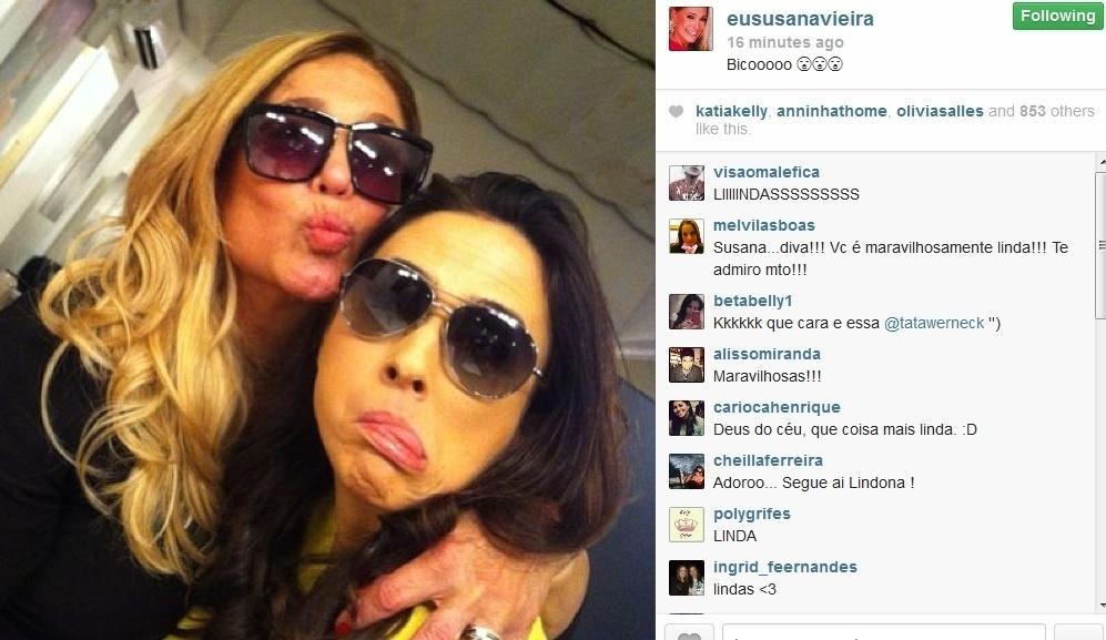 """1.ago.2013 - Susana Vieira tieta Tatá Werneck nos bastidores de """"Amor à Vida"""":"""