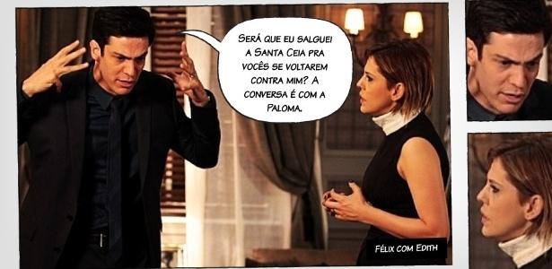 """Na montagem, uma das expressões caricatas do personagem Félix, de """"Amor à Vida"""""""
