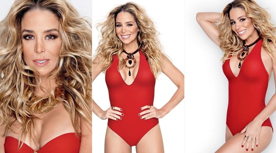 3.ago.2013 - Danielle Winits posou vestindo maiô vermelho para a edição de agosto de uma revista feminina.