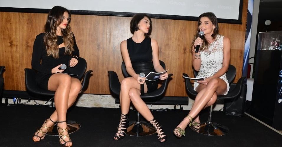7.ago.2013 - Bruna Marquezine, Isabelle Drummond e Daniela Cicarelli participam de evento de marca de higiene dentária que aconteceu na Vila Nova Conceição, em São Paulo.