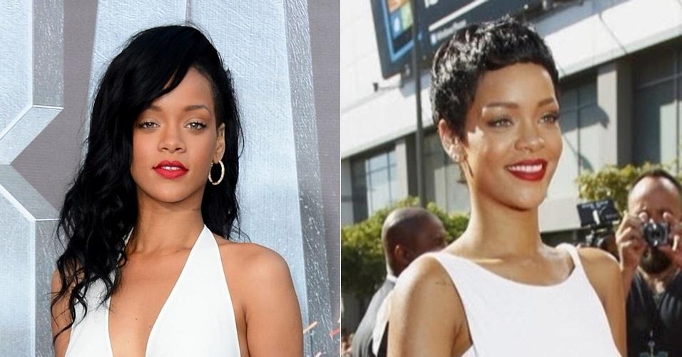 Em 2012, a cantora Rihanna se desfez das longas madeixas, mas a mudança radical só durou alguns meses