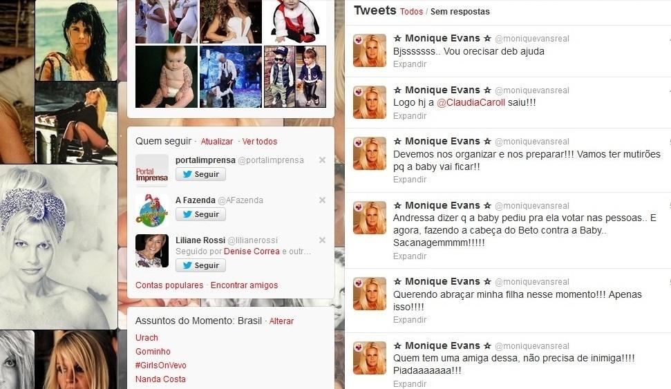 10.ago.2013 - Pelo twitter, Monique Evans dá apoio à filha Bárbara Evans