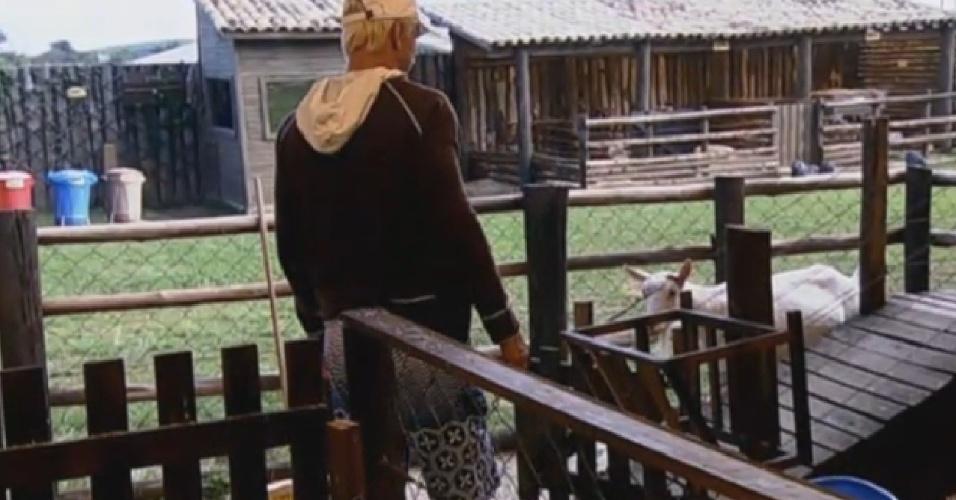 Paulo Nunes cuidando das cabras