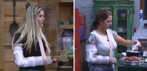 12.ago.2013 - Bárbara e Denise se dão mal em atividade sobre trânsito e são obrigadas a usar talas
