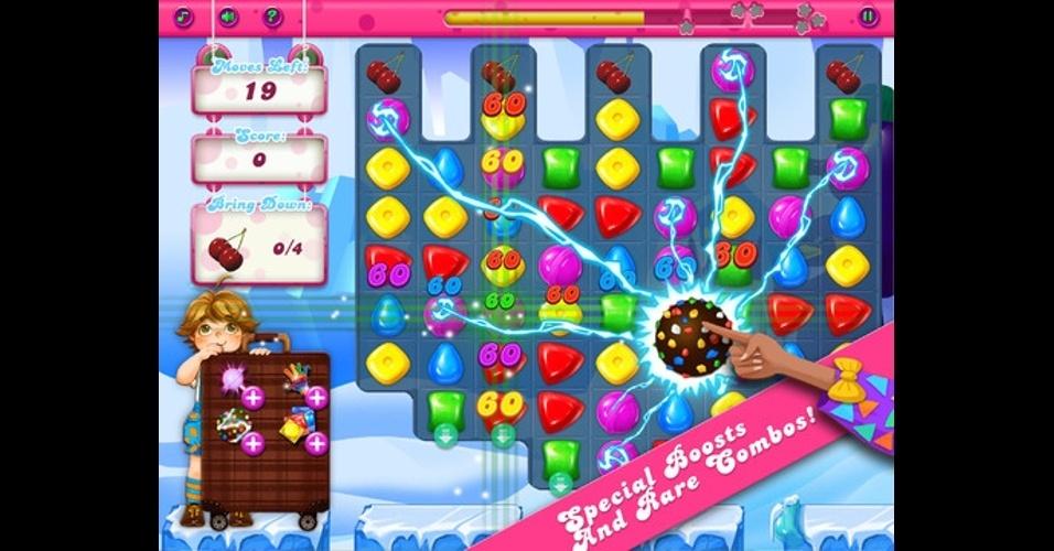 """""""Adventure of Candy"""", para iOS,  é bem similar à """"Candy Crush"""" e não precisa estar conectado à internet para ser jogado."""