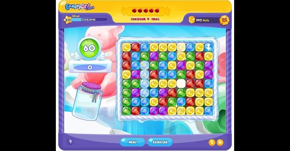 """Com versões para iOS, Android e redes sociais, """"CandyPot"""" é colorido quebra-cabeça feito no Brasil."""