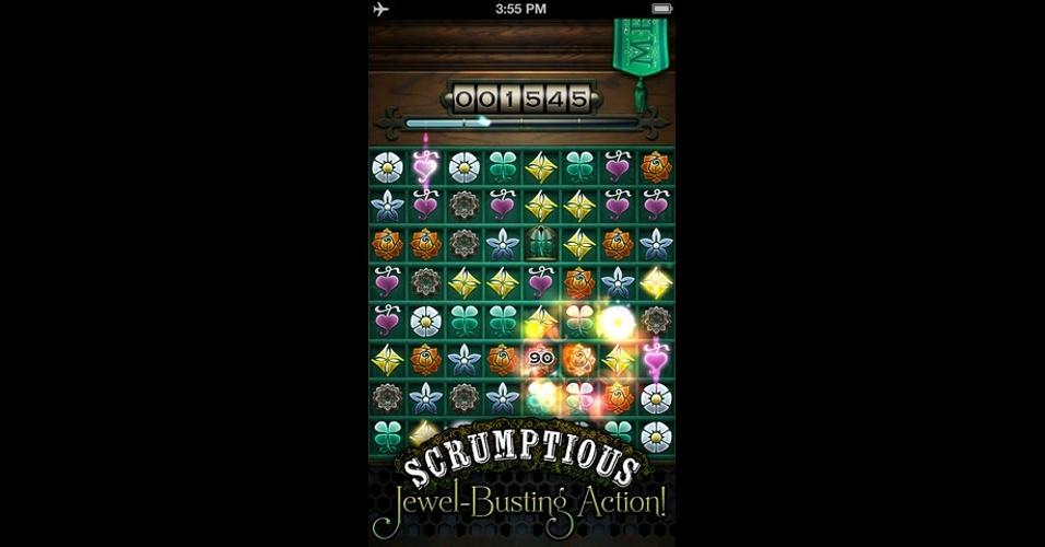 """""""Cruel Jewels"""", para iOS, segue a fórmula da combinação de três joias iguais, mas traz belos gráficos no estilo 'steampunk' e rodadas contra um fantasma."""