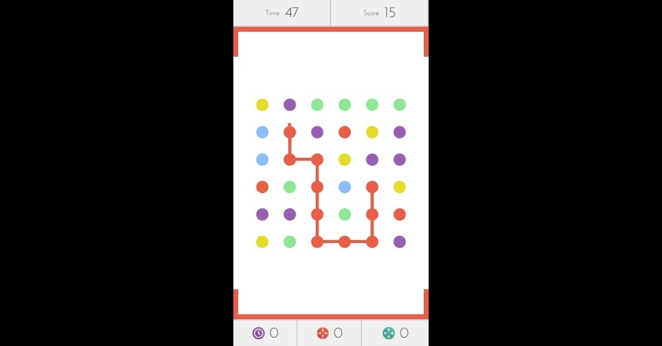 """Em """"Dots: A Game About Connecting"""", para iOS, você deve ligar o máximo de pontos da mesma cor, dentro de um minuto."""