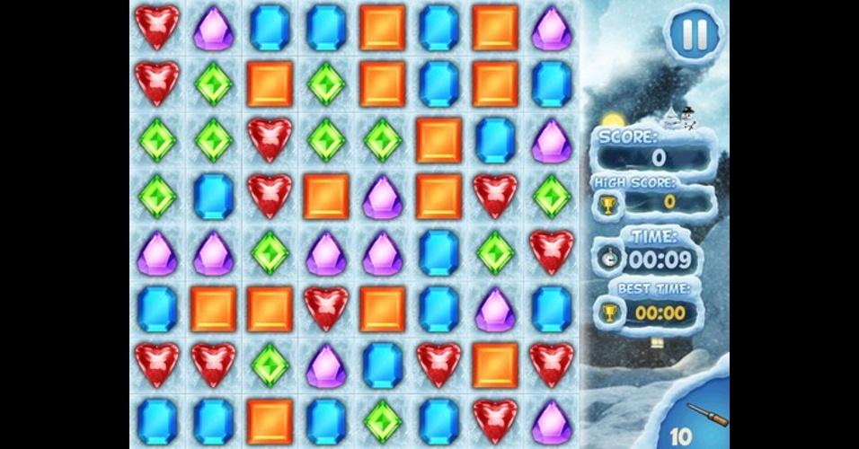 """Em """"Jewel World Skull Edition"""", para iOS, você combina as joias para eliminar as camadas de gelo e ganha pedras especiais em formato de caveira."""