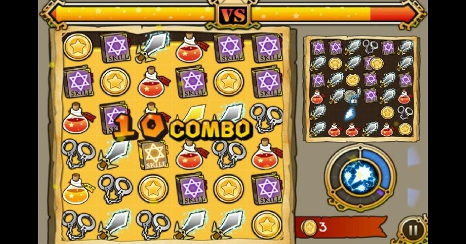"""Em """"Witch Wars: Puzzle"""", para iOS e Android, é possível disputar partidas contra outros jogadores em tempo real."""