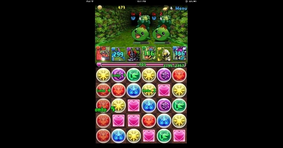 """""""Puzzles & Dragons"""", para iOS e Android, divide a tela entre um RPG e um puzzle. O sucesso de vendas que começou no Japão se espalhou por todo o mundo."""