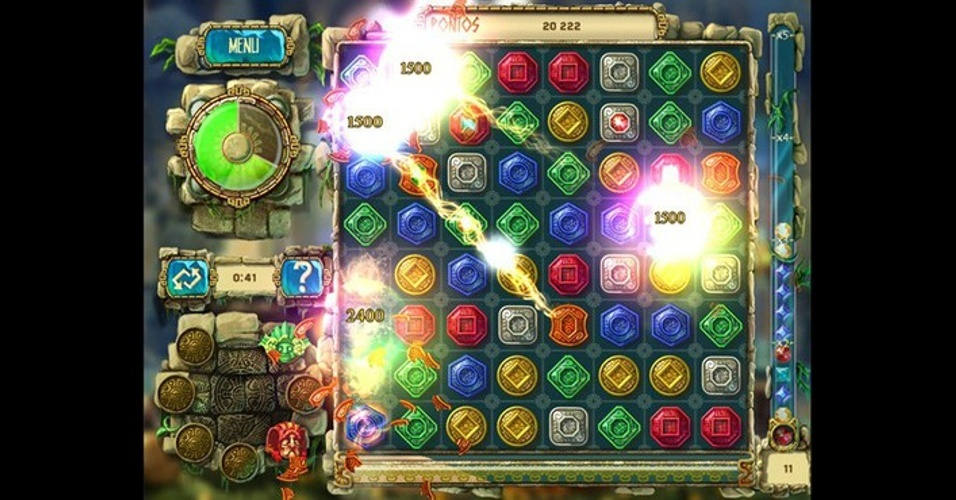 """The Treasure of Montezuma 3"", para iOS, Android e Windows 8, traz os desafios de combinar e eliminar pedras, tudo dentro de 60 segundos por rodada."