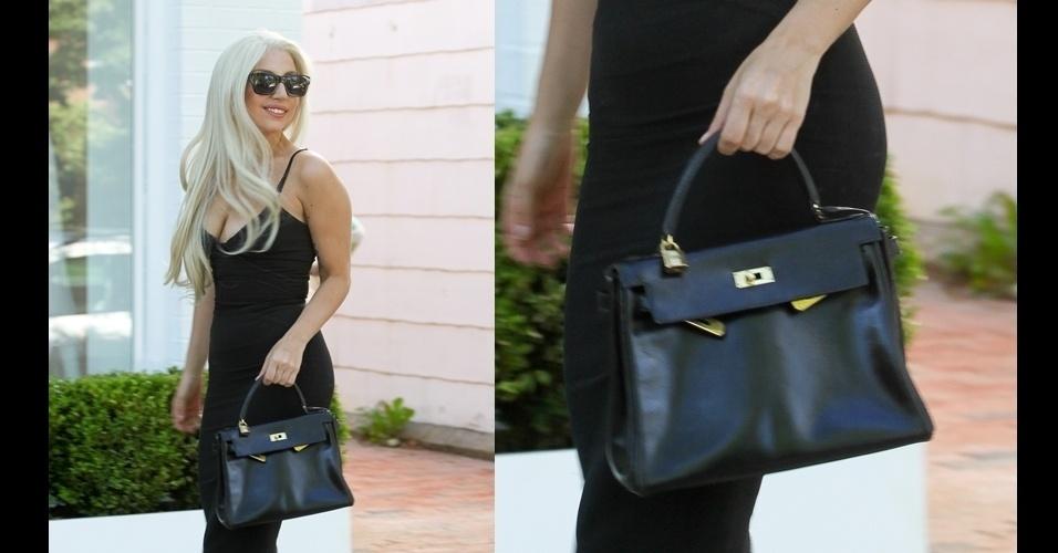 Em um respiro em seu estilo excêntrico, Lady Gaga veste um look clássico e optou por incrementá-lo com o modelo