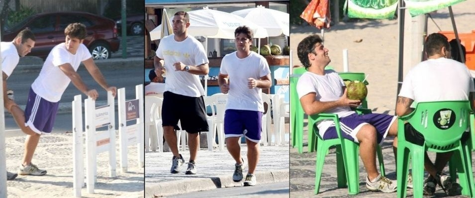 Bruno Gagliasso faz treinamento com um personal trainer na praia do Leblon, no Rio de Janeiro. Ele precisou emagrecer bastante por causa de seu personagem Tarso em