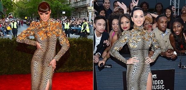 A modelo Coco Rocha e a cantora Katy Perry usaram o mesmo vestido do estilista Emanuel Ungaro no baile do Met, em maio, e no Video Music Awards (VMA), em agosto