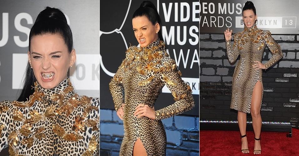 25.ago.2013 - Katy Perry usa grillz de diamantes em apresentação no VMA 2013