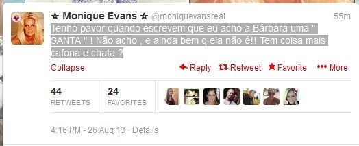 26.ago.2013 - Monique Evans usa Twitter para dizer que sua filha Bárbara não é santa