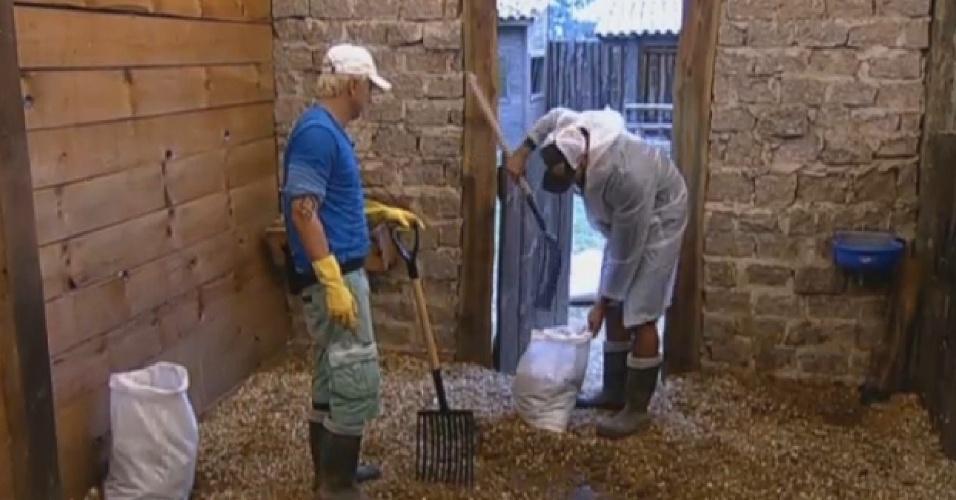 27.ago.2013 - Paulo Nunes recebe ajuda de Beto Malfacini para limpar o estábulo
