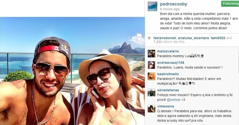 29.ago.2013 - Pedro Scooby parabenizou Luana Piovani pelo Instagram: