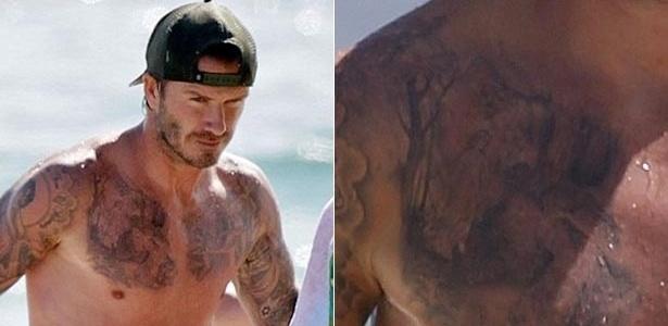 David Beckham exibe 33ª tatuagem na praia