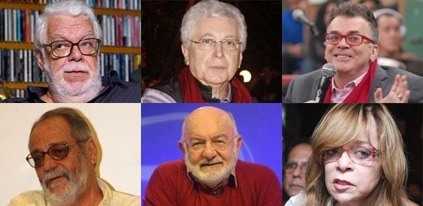 Da esq. para dir., de cima para baixo: Manoel Carlos, Aguinaldo Silva, Walcyr Carrasco, Walther Negrão, Silvio de Abreu e Glória Perez, alguns dos principais autores da Rede Globo