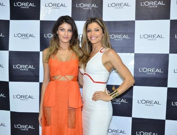 8.set.2013 -  Isabeli Fontana e Grazi Massafera vão a feira de beleza em São Paulo