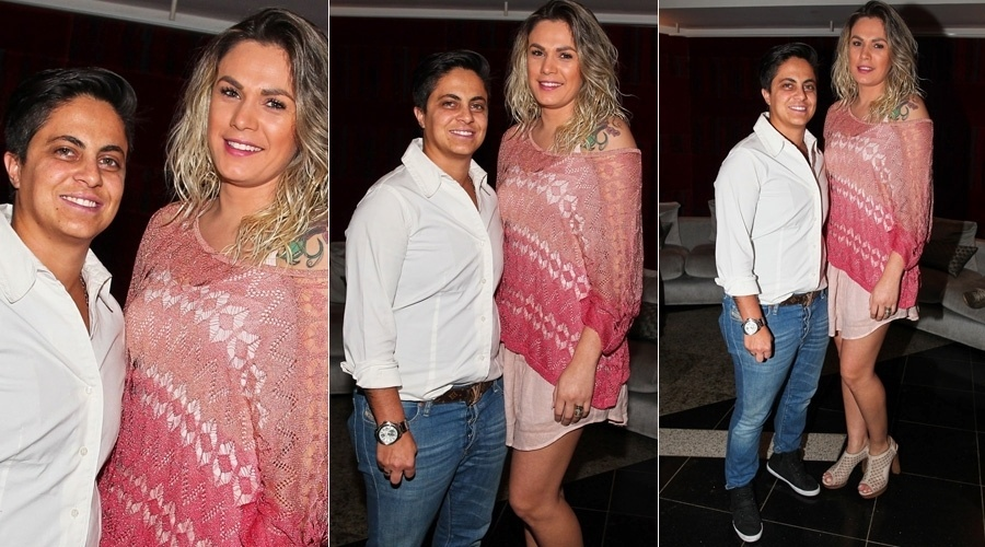 9.set.2013 - Acompanhada da namorada, Nilceia Oliveira, Thammy Miranda prestigiou a pré-estreia do musical