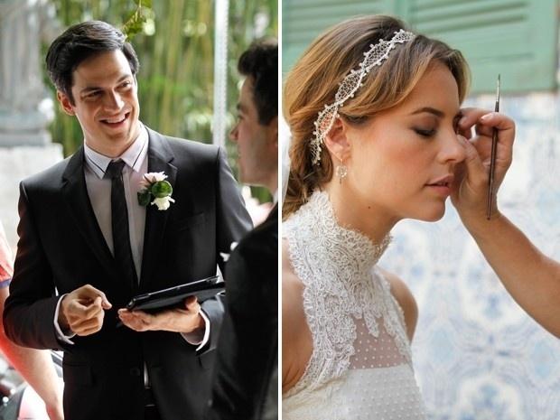 11.set.2013 - Mateus Solano e Paolla Oliveira se preparam para gravar as cenas do casamento de Paloma (Paolla) e Bruno (Malvino Salvador) em