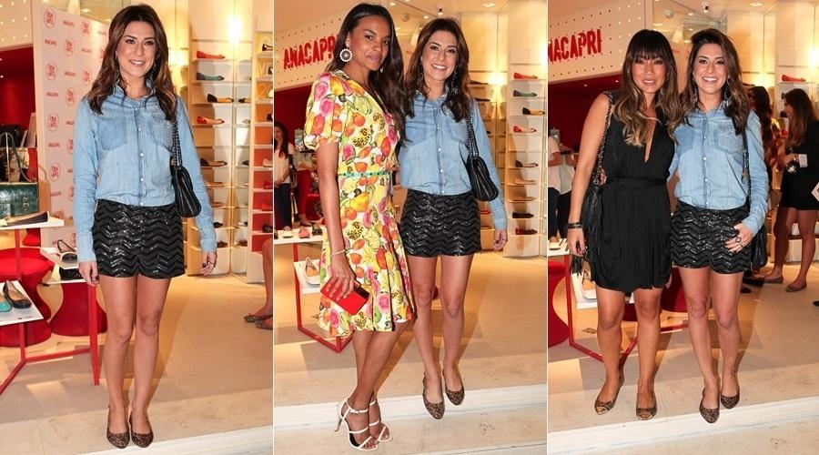 12.set.2013 - Fernanda Paes Leme prestigiou a inauguração de uma loja de calçados femininos em São Paulo. Lucy Ramos e Daniele Suzuki também compareceram ao evento
