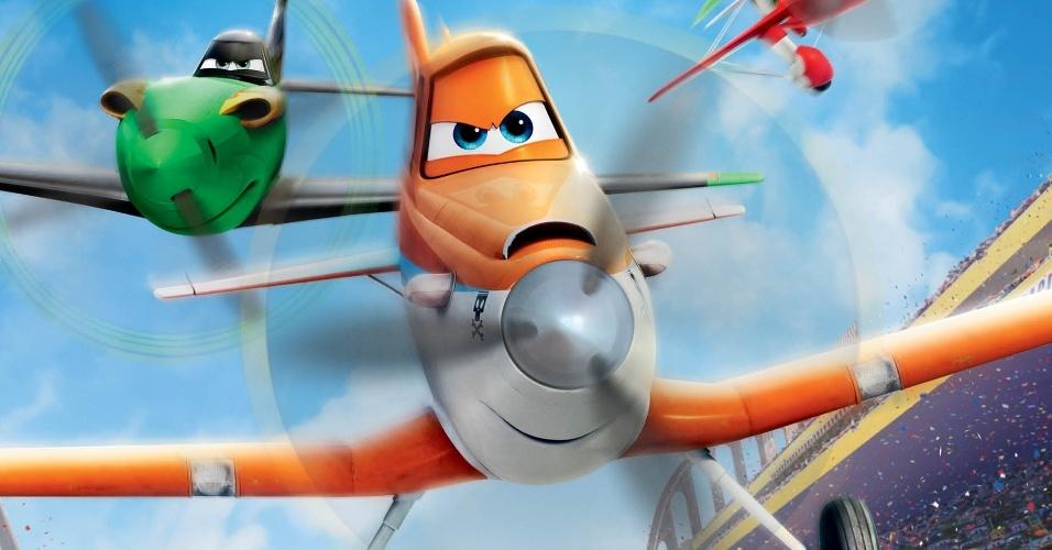 """Cartaz oficial em português da animação """"Aviões"""", de Klay Hall, com vozes de Dane Cook e Teri Hatcher - pôster nacional"""