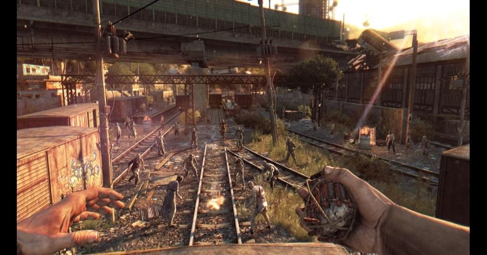 """""""Dying Light"""" é um jogo em primeira pessoa de sobrevivência contra zumbis, com toques de parkour"""