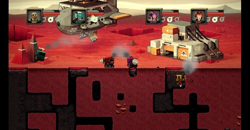 """Em """"Super Motherload"""" os jogadores controlam uma escavadeira em Marte e podem jogar com até 4 pessoas"""