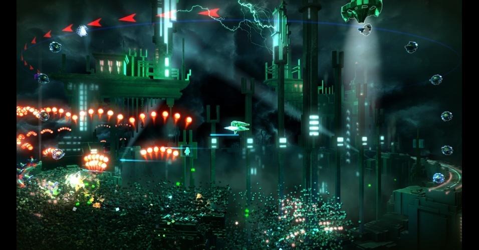 """""""Resogun"""" (exclusivo do PS4) é um jogo de tiro com naves em dinâmica cilíndrica"""