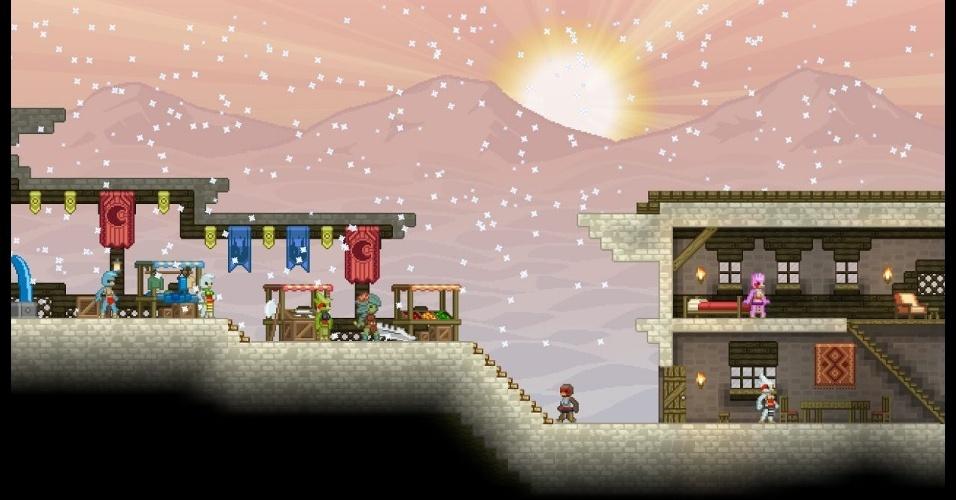 """""""Starbound"""" é um jogo de exploração em mundo aberto, com elementos gerados de forma aleatória"""