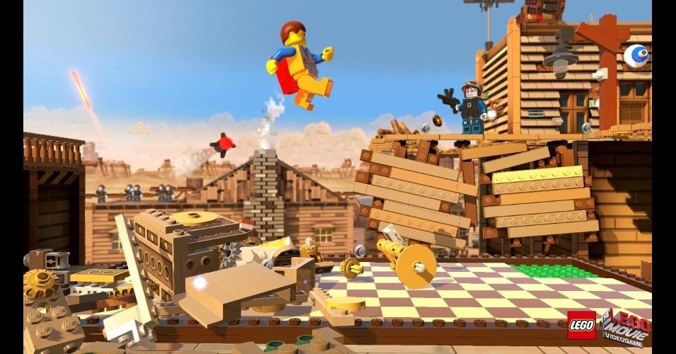 """""""The LEGO Movie Videogame"""" coloca os jogadores no papel de Emmet, um boneco de Lego considerado a chave para salvar o mundo"""