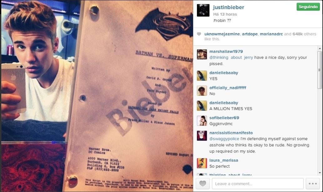 Justin Bieber publica suposto roteiro do filme