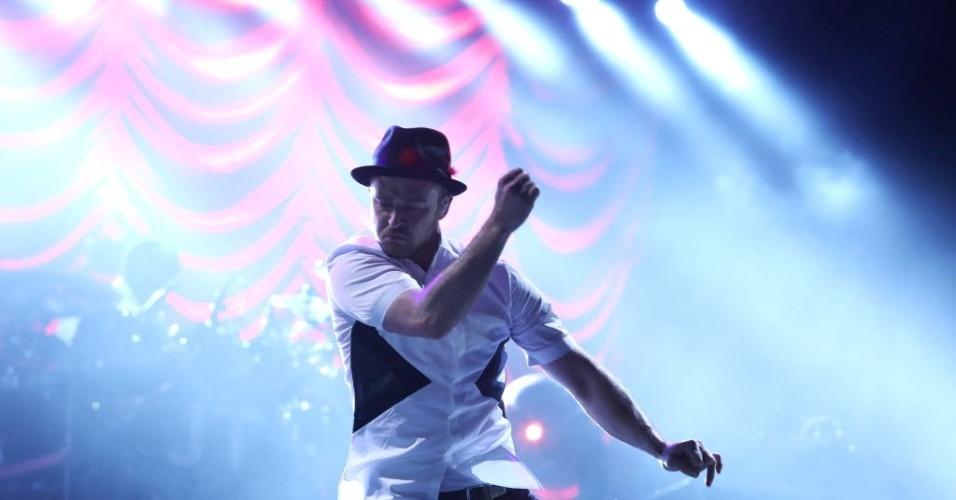 15.set.2013 - Justin Timberlake faz o último show da terceira noite do Rock in Rio do Palco Mundo