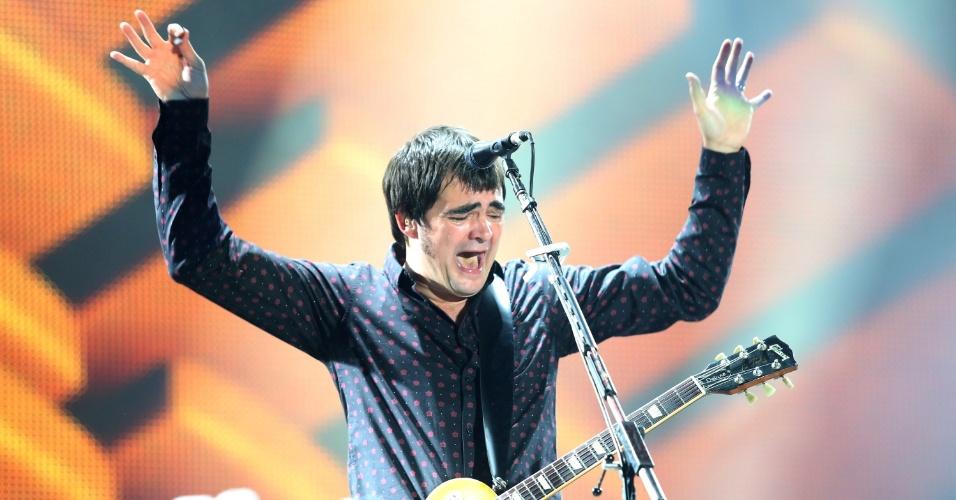 21.set.2013 - Samuel Rosa, do Skank, durante apresentação no Rock in Rio