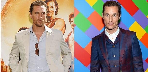 Matthew McConaughey durante premiére em 2005 e em um evento em abril deste ano
