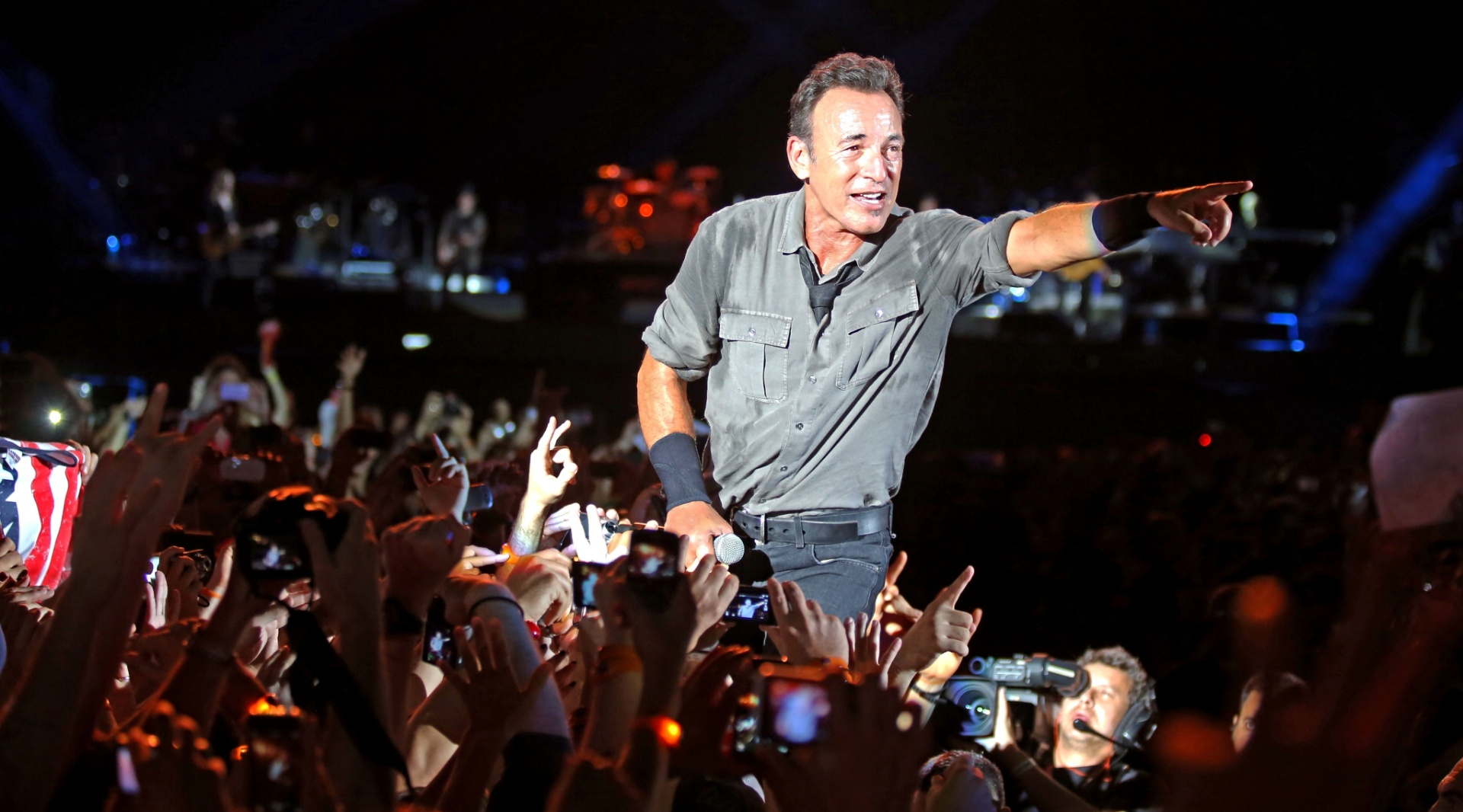 21.set.2013 - O cantor Bruce Springsteen se apresenta no Palco Mundo do Rock in Rio