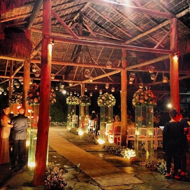 23.set.2013 - Decoração do local onde foi feita a cerimônia de casamento de Naldo e Mulher Moranguinho