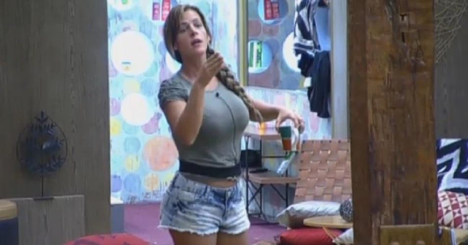 23.set.2013 - Denise Rocha se irrita com Marcos Oliver ao ser flagrada devolvendo as sobras do prato na panela de comida