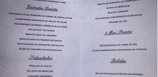 23.set.2013 - Cardápio da festa de casamento de Naldo e Moranguinho