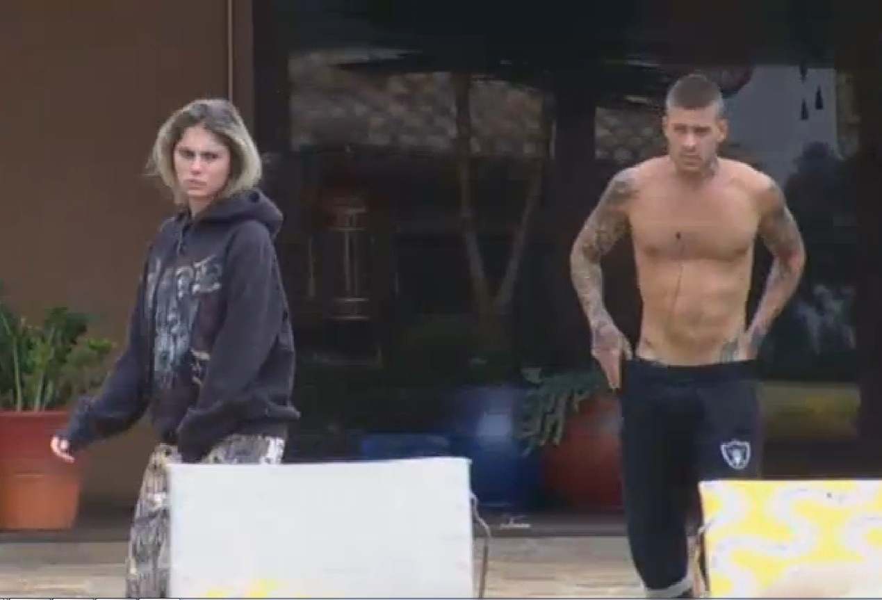 Bárbara Evans e Mateus Verdelho realizando suas atividades matinais