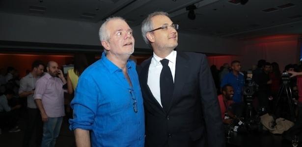 """O autor Carlos Lombardi com o diretor Alexandre Avancini na festa de lançamento da novela """"Pecado Mortal"""""""