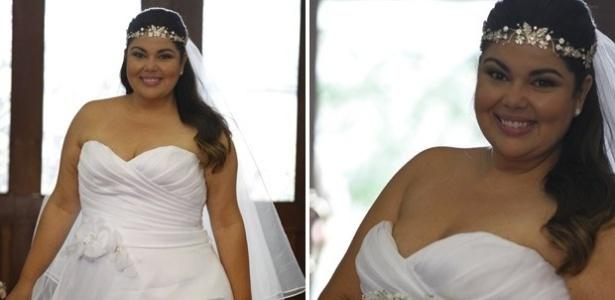 Nos bastidores da gravação da cerimômia que vai unir Perséfone e Daniel, a atriz Fabiana Karla relembrou seu casamento na vida real