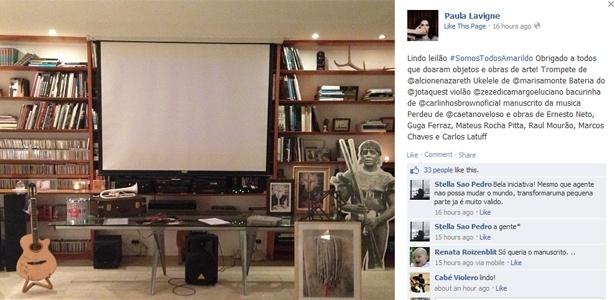 8.out.2013 - Paula Lavigne divulga objetos e obras de arte leiloados em sua residência, no Rio, em prol da família de Amarildo